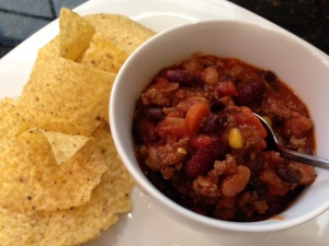 Three Bean Chili with ground beef