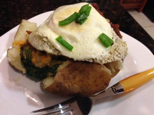 Spinach Bacon Stuffed Potato