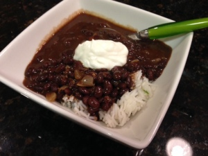 black bean soup with cilantro lime rice