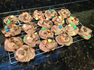 Crispy Malted M&M Cookies